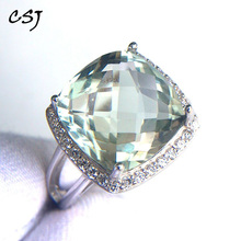 CSJ Elegant green amethyst ring cushion cut12mm gemstone rings sterling 925 silver fine jewelry for women girl with gift box