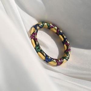 Image 5 - Sljely Mode Pure 925 Sterling Zilveren Sieraden Geel Goud Kleur Multicolor Zirkoon Kruisen Tribal Finger Ring Mana Collection