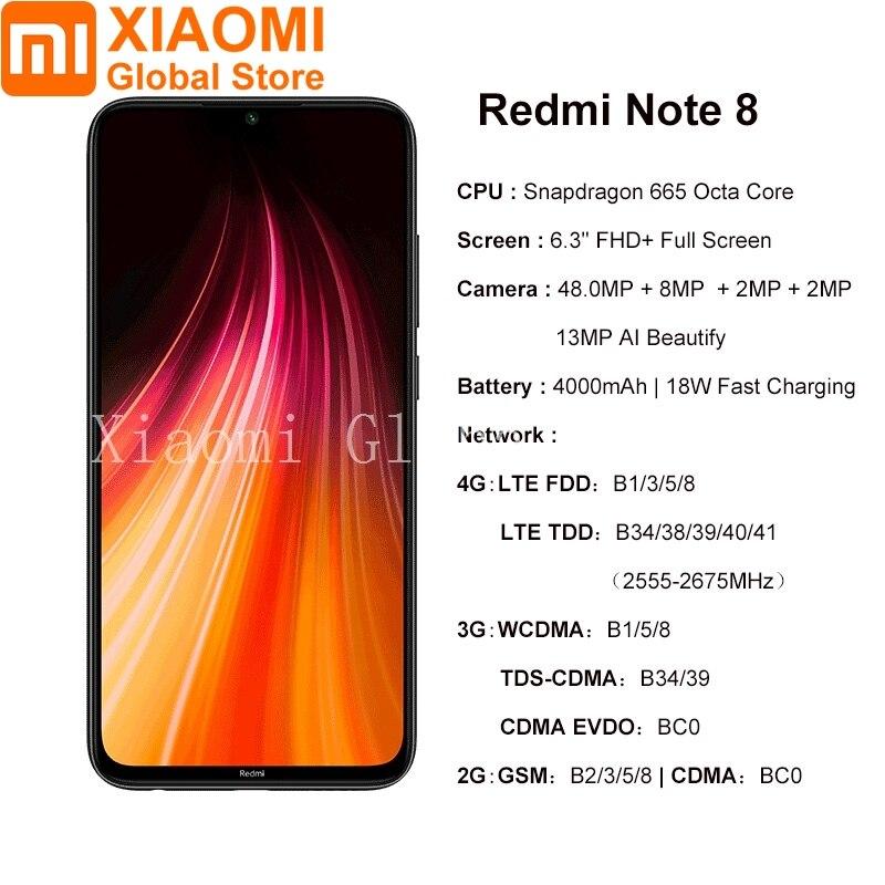 Image 2 - Version mondiale Xiaomi Note 8 4 go RAM 64 go ROM téléphone portable Note8 Snapdragon 665 charge rapide 4000mAh batterie 48MP SmartPhoneMobile Téléphones   -