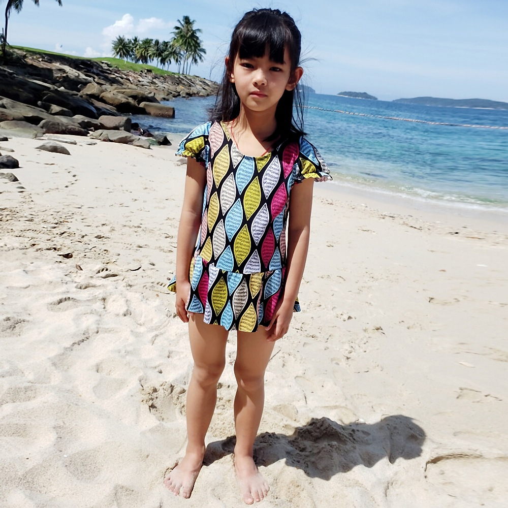 Children Beach Bathing Suit Girls Korean-style Dress-Big Boy Tour Bathing Suit Princess Students 8-12-Year-Old Swimming Suit