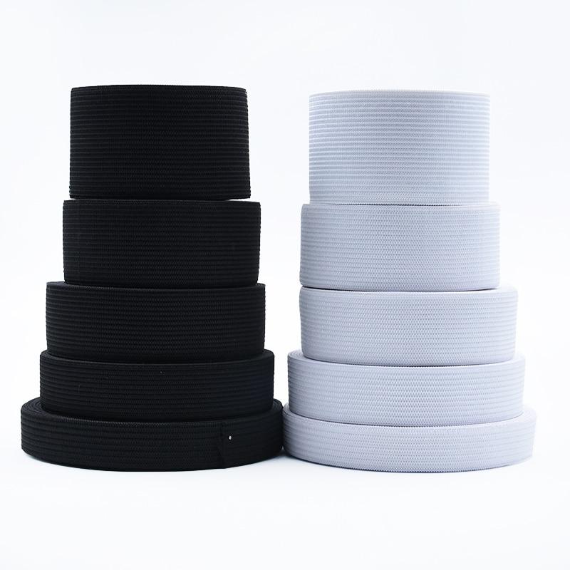 10/15/20/25/30/35/40/50mm 1-5 Meter Flat Elastic Bands White Black Spandex Elastic Ribbon DIY Crafts Trousers Sewing Accessories