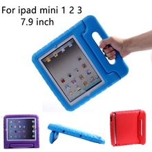 For ipad mini 1 2 3 Case Kids Tablet Protecter Shell shockproof EVA Hand-held Stand Cover for Apple ipad mini 2 недорого