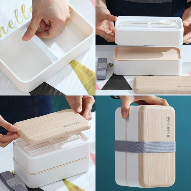 Japanese Double Layer Lunch Box Wooden Lid Microwave Bento Box for Kids Portable Picnic Food Storage Container Dinnerware Set 4