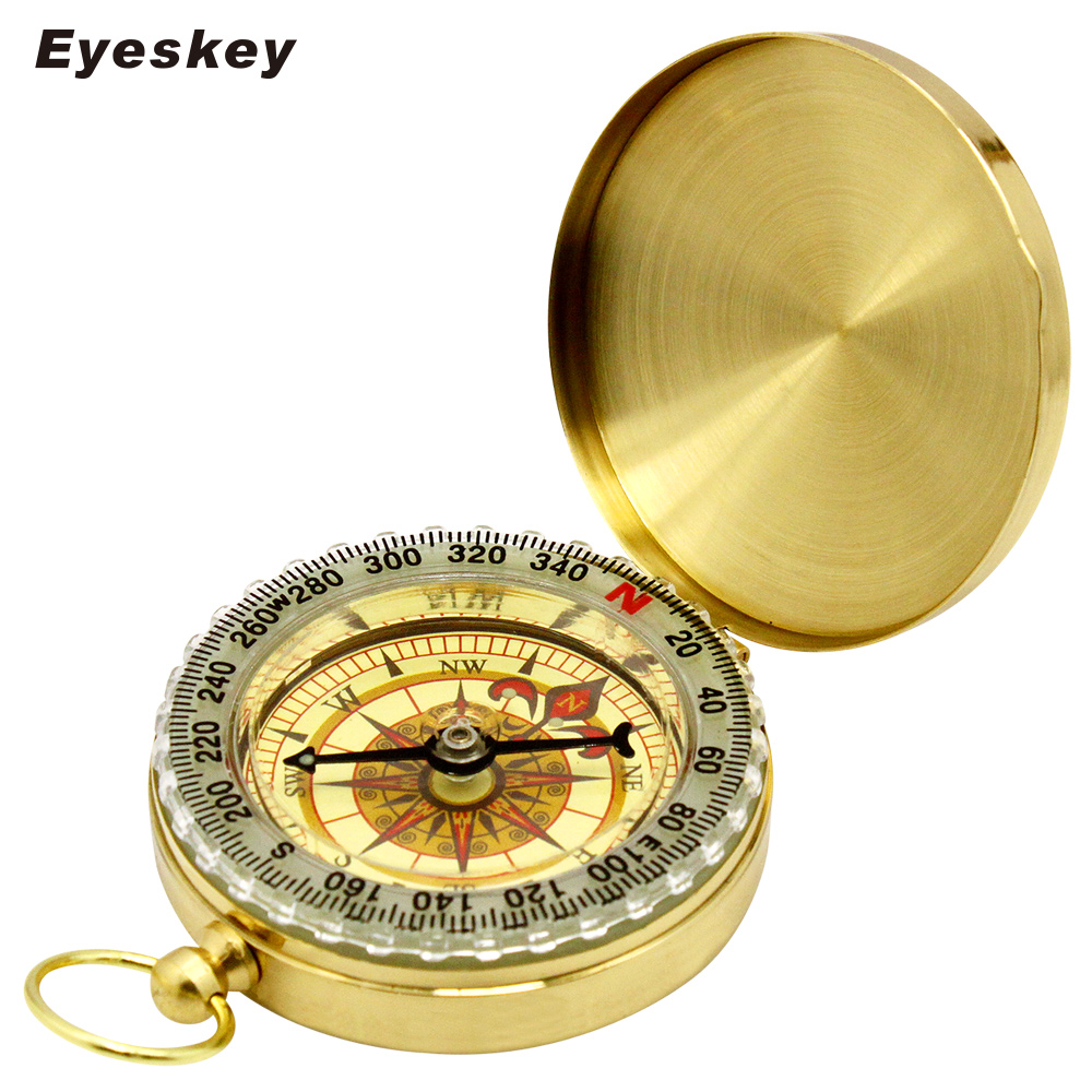 Eyeskey EK50 Portable Golden Compass Delicate Brass Pocket Mini Compass Watch Style Outdoor Camping Hiking