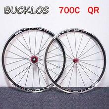 Bucklos 700c Racefiets Wielset Qr Aluminium Wiel Set Voor Achter Clincher Voor 7-11S Cassette Wiel set Velgen Fietsonderdelen