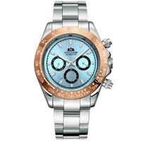 자동 시계 자동 바람 기계식 골드 스테인레스 스틸 빙하 아이스 블루 다이얼 밤나무 브라운 베젤 빛나는 남자 시계