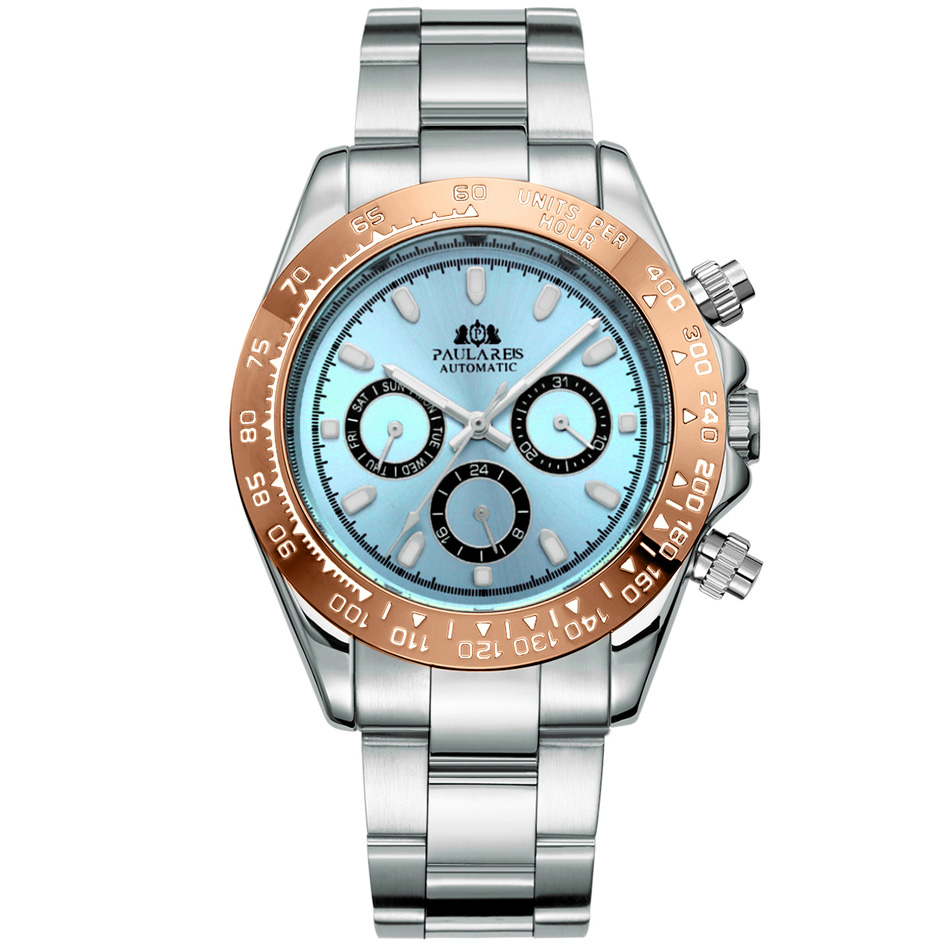 Automatic Watches Self Wind Mechanical Gold Stainless Steel Glacier Ice Blue Dial Chestnut Brown Bezel Luminous Men Watch