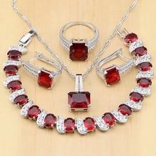 925 Jóias de prata Red Cubic Zirconia CZ Branco Contas Conjuntos de Jóias Mulheres Brincos/Pingente/Colar/Anéis/pulseira