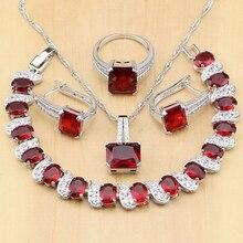 925 gümüş takı kırmızı kübik zirkonya beyaz CZ boncuk takı setleri kadın küpe/kolye/kolye/yüzük/bilezik
