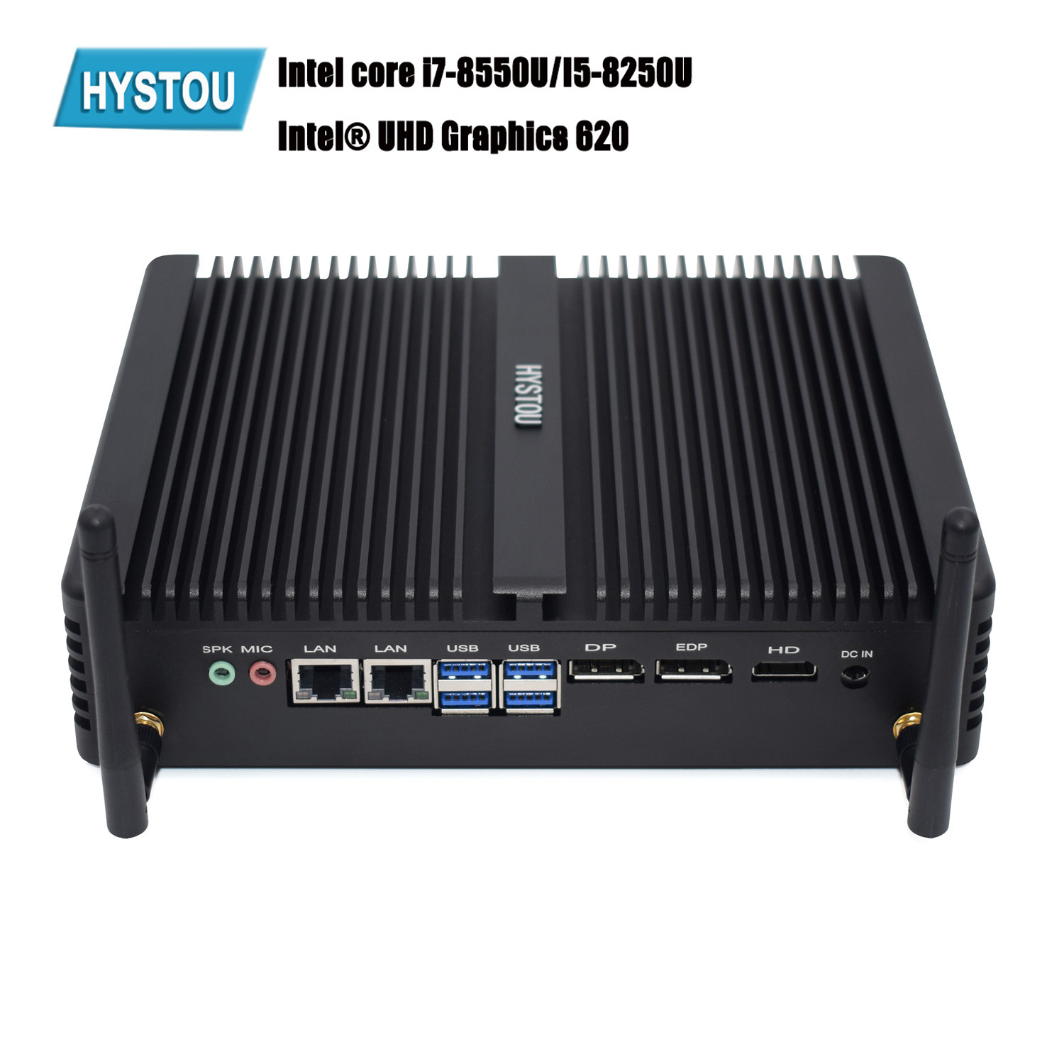 Hystou M2 WIFI 8th Intel Core Industrial Fanless Mini PC i5 8250U i7 8550U Windows 10 DDR4 4 USB 3.0 HDMI DP EDP 4K HTPC NUC image