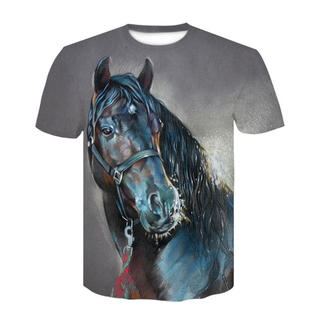 Summer New O-neck Wearing A flower Headband Horse T-Shirt 3D Fashion T Shirt Animal Clothes Men Women Large Size Tshirt Dropship 4