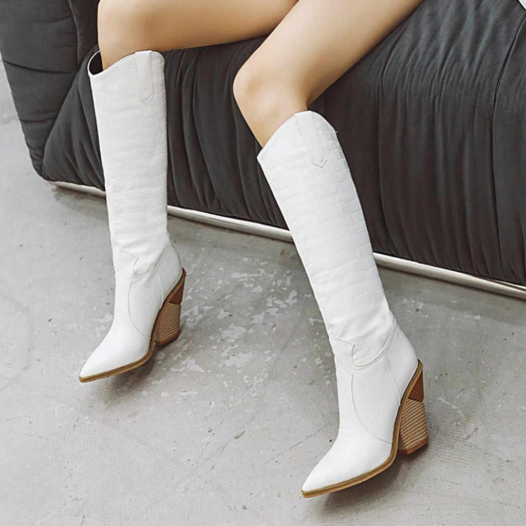 Kadın Takozlar Sivri Burun Rahat Işlemeli Batı Rodeo Kovboy Çizmeler Sonbahar Kadın Ayakkabı Kış Kadın Botları 2020