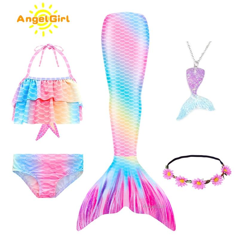 AngelGirl 2021 Детские бикини с хвостом Русалочки купальный Детский костюм купальник с моноластами для девочек костюм принцессы купальный костюм