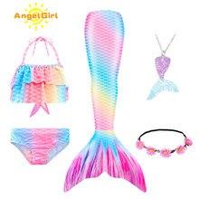 AngelGirl 2021 çocuklar denizkızı kuyrukları Bikini mayo çocuk mayo Monofin ile kızlar için prenses kostüm yüzücü takım elbise