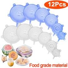 Couvercle alimentaire en plastique, 6 ou 12 pièces, en silicone, universel, ustensile de cuisine, bol, réutilisable, emballage, bouchon, ajustable
