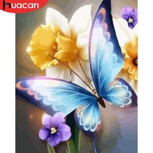 HUACAN картинки по номерам бабочка сделай сам для взрослых картина маслом для домашнего декора по номерам животные настенное искусство для го...