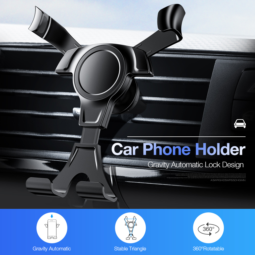 Universal Car Phone Holder Gravity Automatic Locking Phone Holder Car Air Vent Mount Stand For IPhone Samsung Huawei Smartphones