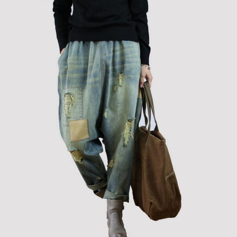 Femme Vintage Hip Hop Loose Fit Casual Baggy Jeans Blue Denim Cotton Cross-pants Hole Rip Wide Leg Harem Pants Women Trousers