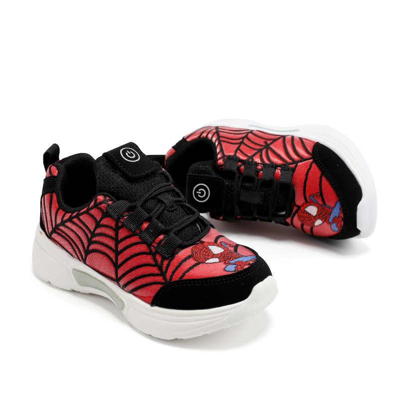 UncleJerry Bambino In Fibra Ottica per le ragazze dei ragazzi Ricaricabile light up scarpe Per Bambini Incandescente della Scarpa Da Tennis Del Fumetto Dello Spiderman Scarpe