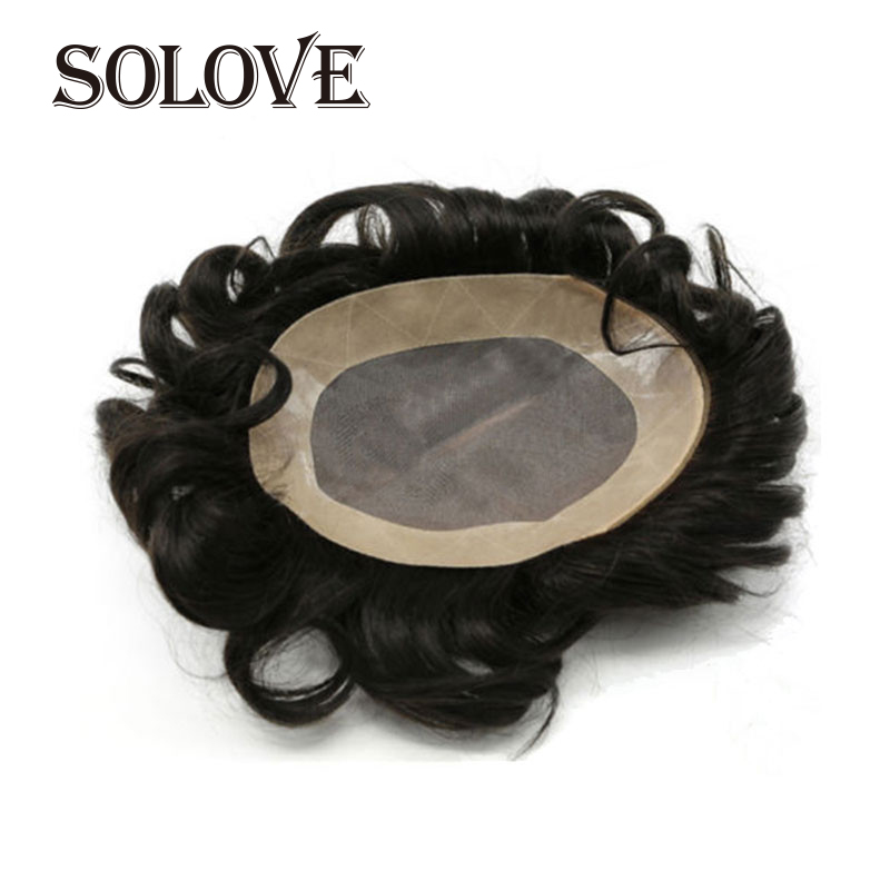 100% Human Remy Hair Toupee For Men Mono Lace& NPU Hairpiece Natural Looking Remy Hair Mens Wig Replacements Toupee