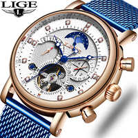 LIGE cadeau hommes montres marque de luxe mode Tourbillon automatique mécanique montre hommes en acier inoxydable montre Relogio Masculino