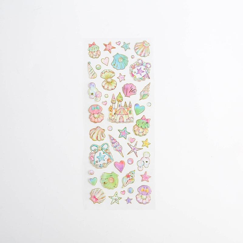 Корейские милые наклейки, штампованные прозрачные DIY дневник, ручная книга, материальное украшение, паста, детские маленькие наклейки, креативные - Цвет: 6