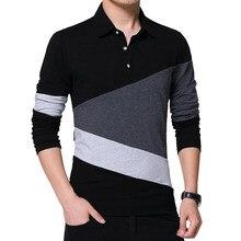 Polo de manga larga para hombre, camisetas de retales de algodón suave, ropa de marca, moda de primavera y otoño