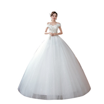 Feerijt 2020 Off White New Shining Lace Plus Size Wedding Dress Noble Off The Shoulder Boat Neck Slim Princess Bride Ball Gown