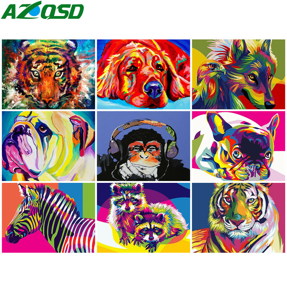 AZQSD Painting By Numbers Colorful Animal Coloring By Numbers DIY Unframed Decoration Arcylic Oil Painting Home Decor