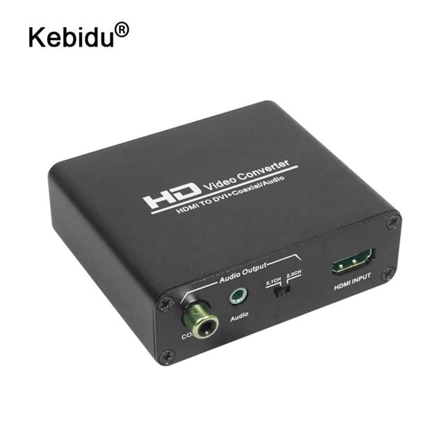 kebidu HDMI to DVI + SPDIF Audio Stereo Spliter Converter HDMI to DVI Audio Splitter with HDCP Removing HD 1080P Video
