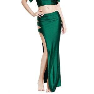 Image 3 - נשים בטן ריקוד תלבושות שמלה אחת סדק ארוך חצאית גברת ריקודי בטן חצאיות מזרחי Bellydancing בגדי תחרות תלבושת
