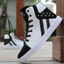 New Arrival Summer Fashion Men Flats Shoes Black White red Casual Shoes Mens Canvas Shoes Lace-Up high top shoes 2018 new fashion all black red male casual flats sneakers shoes men lace up walking shoes canvas high top shoes nn 35