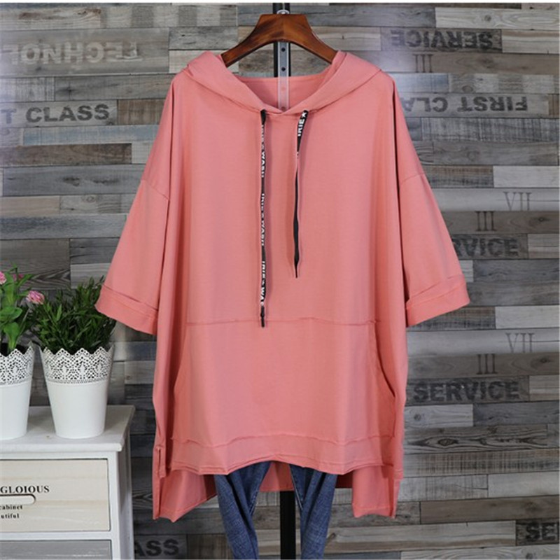 Women Spring Summer Tops 5XL Oversize Womens Clothing Relaxed Short Sleeve  Girl Loose Long Cap Long Batwing Shirts Coat