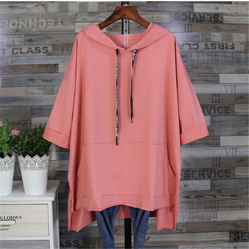 Women Spring Summer Tops 5XL Oversize Womens Clothing Relaxed Short Sleeve  Girl Loose Long Cap Long Batwing Shirts Coat