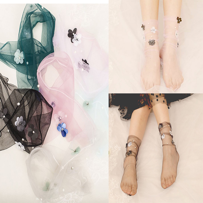 Women's Handmade Sequins Flowers Socks.Lolita Ladies Girl's Transparent Mesh Floral Pearl Socks Gauze Sock Sox Female Hosiery