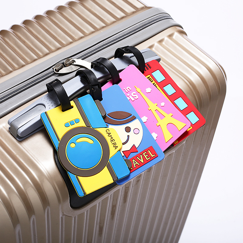 Luggage Tag Silicone Cartoon Cute Creative Style Tower Of Paris Suitcase Tags Name Address Holder Baggage Boarding Tags Label