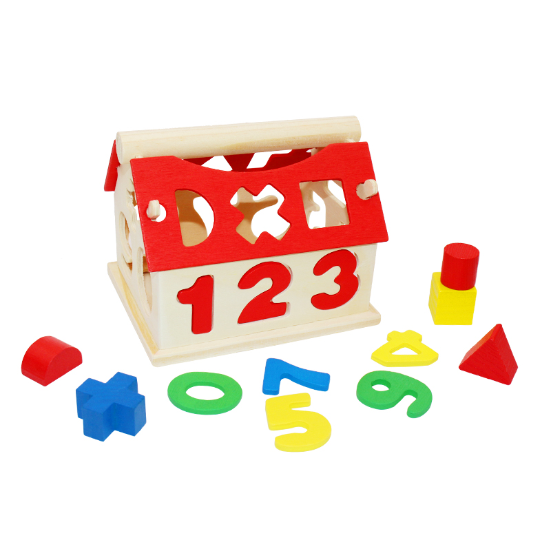 Children Toy Wooden House Intellectual Souptoy Building Block Numbers Kid Gift High Quality