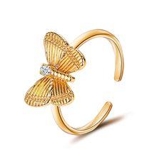 Женское кольцо с бабочкой регулируемое на указательный палец
