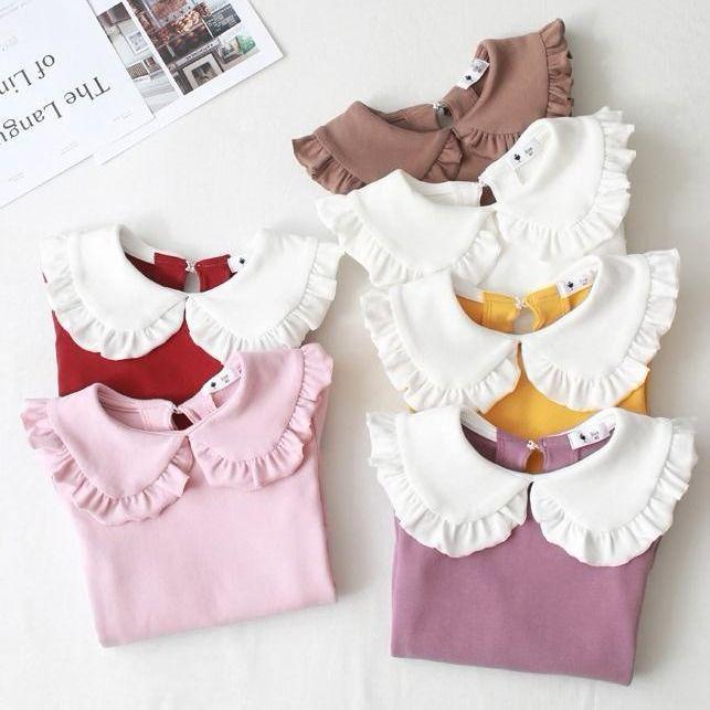 Princesse printemps automne nouvelles filles chemises enfant T-shirt revers dentelle décontracté mode blanc poupée col chemise vêtements pour enfants