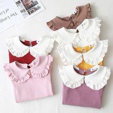 Princess Spring Autumn New Girls Shirts Kid's T-shirt Lapel Lace Casual Fashion White Doll Collar Shirt Children's Clothing