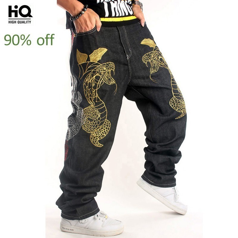 New Brand Hip Hop Street Dance Mens Embroidery Denim Trousers Full Length Fashion Casual Loose Plus Size 30-46 Male Cross Pants