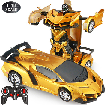 1:18 24CM RC Car 2 in 1Transformation Robots Cars Sports Driving Vehicle One-key Deformation Remote Control Car Toy for Boys F04 1