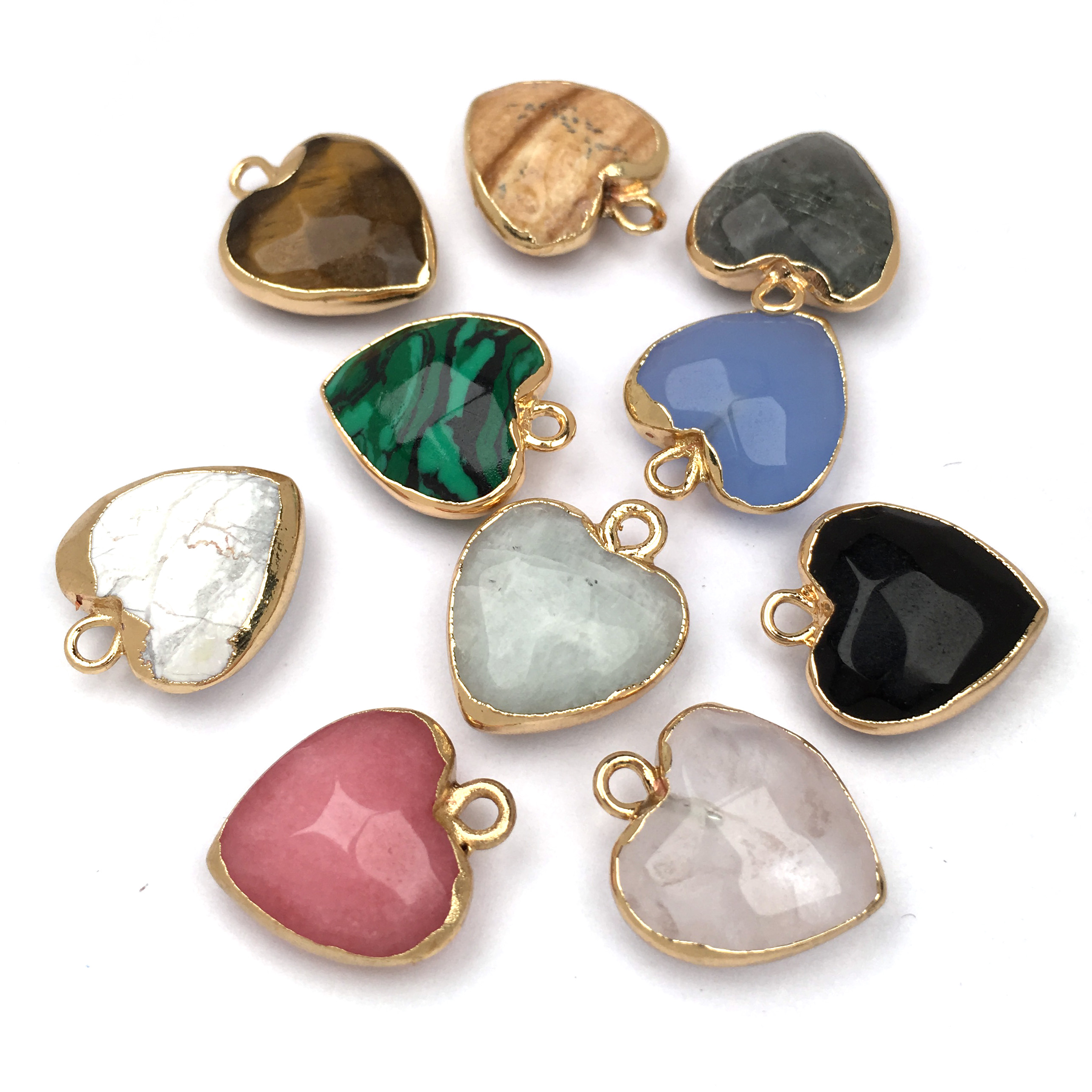 Natural Stone Crystal Pendant charm Heart shape Pendants for Jewelry Making Supplies DIY Fine necklace accessories size 14x17mm