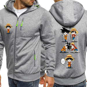 Image 2 - Luffy Funny Hoodies Men Casual Jacket Japanese Anime Dragon Ball Z Mens Sweatshirt One Piece Hoodie Male 2019 Coats Tracksuits