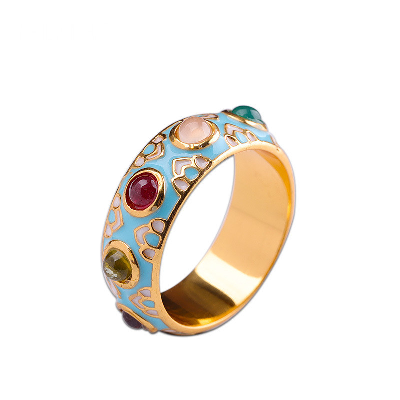 925 Sterling Silver Gemstone Cloisonne Colour Handmade Craft Ring Women Fine Jewelry Luxury Trendy Ring Party Engagement Gift
