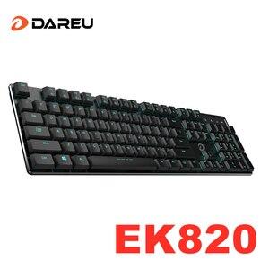 Dareu EK820 Low Profile Mechanical Keyboard Black Switch Extra-Thin Ergonomic 104 Keys Keypads with Backlit for Desktop Laptop