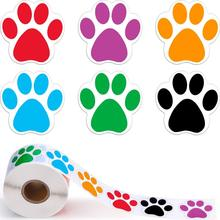 500PCS Colorful Paw Mark Stickers Dog Labels Jungle Birthday Party Decoration Bear Childrens Toys Sticker Tags