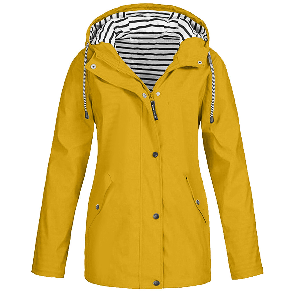 Waterproof Jackets Raincoat Hooded Outdoor Women Camping Solid for Fall title=