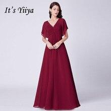 Its Yiiya Bridesmaid Dress Long V-neck Chiffon Women Party Dresses For Girls Plus Size Backless Robe Demoiselle D Honneur  C488