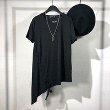 Оригинальные летние личность темно Отдел простой Асимметричный длинный футболка с коротким рукавом и Yuanshufeng для отдыха, наклонная кромка, к...